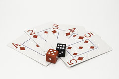 Playing Cards and Dice Stock Photography