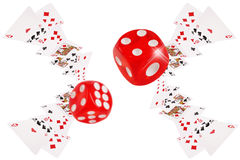 Playing cards and dice flying at the poker table. Playing cards an dice flying at the poker table stock illustration