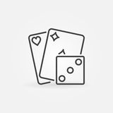 Playing cards with dice icon Stock Images