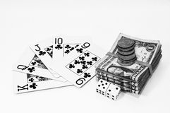 Playing Cards, Dice, and Money Stock Image