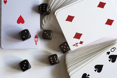 Playing cards and dice Royalty Free Stock Photos