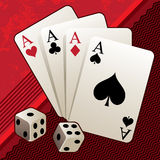 Playing cards with dices Stock Photography