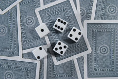 Playing Cards with dices. Playing Cards with five dices Stock Photos