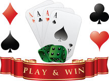 Playing cards with dices. Play and win. Vector illustration Royalty Free Stock Photography