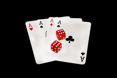 Playing cards and dices. Close up of poker and dices. Concept of addiction royalty free stock photo