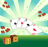 Playing cards and dices. Abstract colorful illustration with playing cards, two dices and colored clovers Royalty Free Stock Photos
