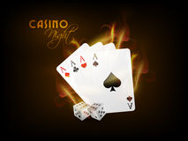 Playing cards with dices for Casino Night. Ace playing cards in fire with dices on brown background for Casino Night Stock Images