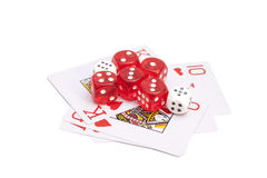 Playing cards and dices Stock Images