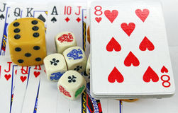 Playing cards with dices Stock Image