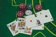 playing cards,dices and poker chips from above on green poker royalty free stock photography