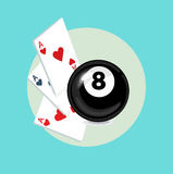 Playing cards with eight billiard black ball flat design Royalty Free Stock Image