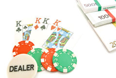 Playing cards, euros and chips Royalty Free Stock Photography