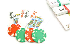 Playing cards, euros and chips on white Stock Images