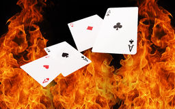 Playing cards on fire. casino concept Royalty Free Stock Photography
