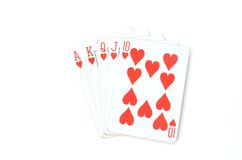 Playing cards. Five playing hearts cards on white background Stock Images