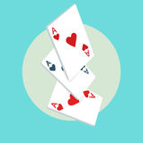 Playing cards flat icon design Royalty Free Stock Photos