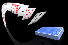 Playing cards flying to/from the deck Stock Images