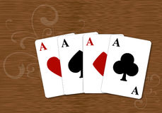 Playing cards, four aces royalty free stock photo