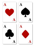 Playing cards, four aces. Playing cards. Four aces poker hand isolated on white Royalty Free Stock Photography