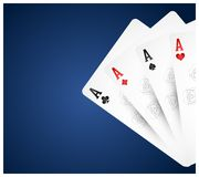 Playing cards on blue background stock illustration