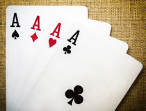 Playing cards - four aces Stock Images