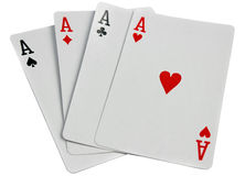Playing cards four aces isolated on white Royalty Free Stock Photography