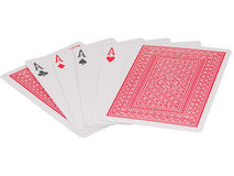 Playing Cards with Four Aces - Winning Poker Hand. Four playing cards show four aces that make a winning poker hand. Isolated background with one ace of clubs Royalty Free Stock Photography