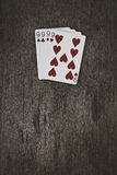 Playing cards four nines Royalty Free Stock Photography