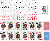 Playing Cards Full Deck. Figures, Joker and two cards back double sized. French tradition stock illustration