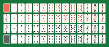 Full Deck of Playing Cards. Playing cards full set isolated on Green background Royalty Free Stock Images