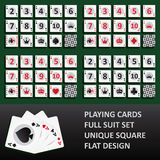 Playing cards, full suit set Royalty Free Stock Photos