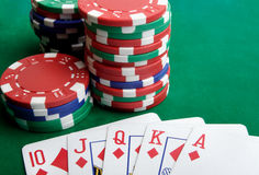 Playing cards and gambling chips Royalty Free Stock Images