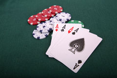 Playing cards and gambling chips Stock Photography