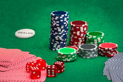 Playing cards and gambling chips Royalty Free Stock Photo
