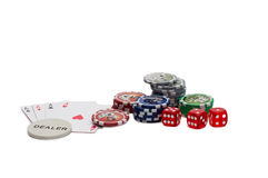 Playing cards and gambling chips Stock Photos