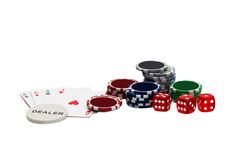 Playing cards and gambling chips Royalty Free Stock Photography