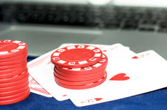 Playing cards and gaming chips Stock Images