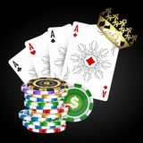 Playing cards and casino chips royalty free illustration