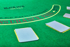 Playing cards on green table surface. Casino, gambling, poker concept Stock Photos