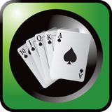 Playing cards on green web button Stock Image