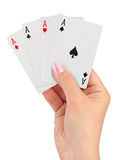 Playing cards in hand Royalty Free Stock Photo