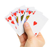 Playing cards in hand Royalty Free Stock Photos