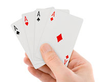 Playing cards in hand Royalty Free Stock Images