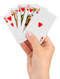 Playing cards in hand Royalty Free Stock Photography