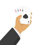 Playing cards in hand vector illustration