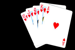 Playing cards. Harts poker hand Royalty Free Stock Photo