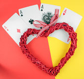 Playing cards and heart. royalty free stock image