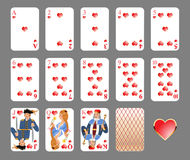 Playing cards - heart suit Royalty Free Stock Photography