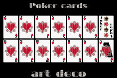 Playing cards heart suit. Poker cards in the art deco style. Royalty Free Stock Photography