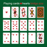 Playing cards. Hearts. Bridge size Stock Images